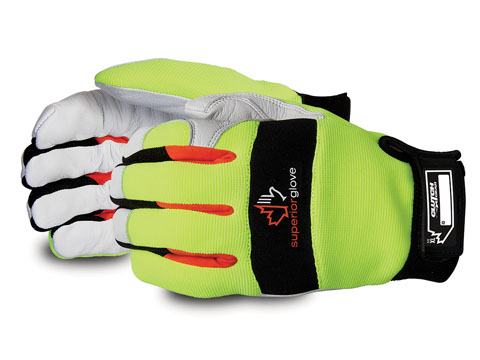 MXGKGHVTL - Superior Glove® Clutch Gear® Hi-Viz  Goat-Grain Palm Thinsulate-Lined Mechanics Gloves