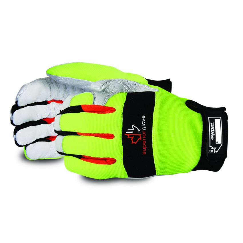 MXGKGHVTL Superior Glove Clutch Gear® Hi-Viz Thinsulate Mechanics Glove with Goat-Grain Palms