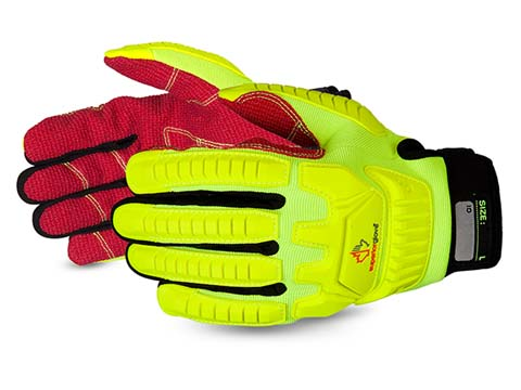 #MXHV5VSB Superior Glove® Clutch Gear® Anti-Impact Hi-Viz Yellow Back Mechanics Oilfield Glove w/ Cut-Resistant Palms