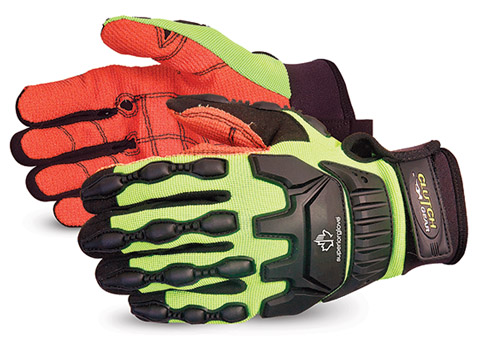 MXVSBA- Superior Glove® Clutch Gear® Anti-Impact Puncture & Cut Resistant Oilfield Work Glove with red Armortex® Palms