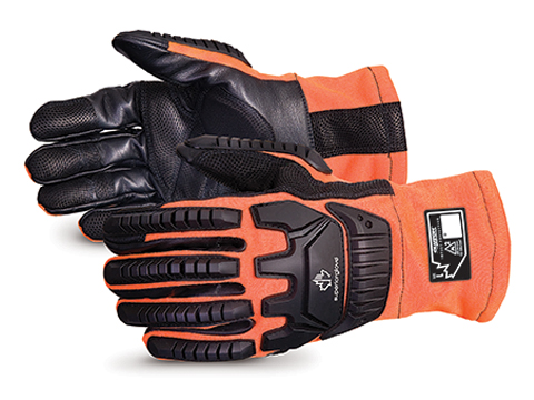 Superior Glove® Clutch Gear® Hi-Viz Flame-Resistant Arc-Flash Anti-Impact Mechanics Gloves #MXVSBFR