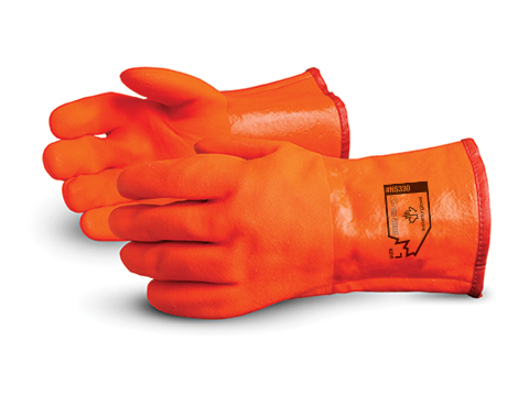NS300B Superior Glove® North Sea™ Insulated Water-Proof Orange PVC Winter Gloves w/ Safety Cuff