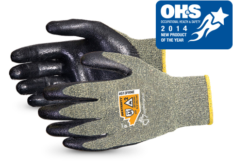#S13FRNE AWARD WINNER. Superior Glove®  Dexterity® 13-gauge Flame-Resistant Arc Flash Glove w/ Neoprene Palms