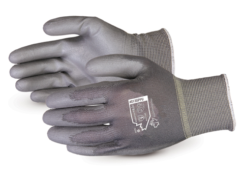 S13GPU Superior Glove® Superior Touch® 13-gauge Grey Cleanroom Nylon Puncture Resistant Knit Gloves w/ Polyurethane Palms