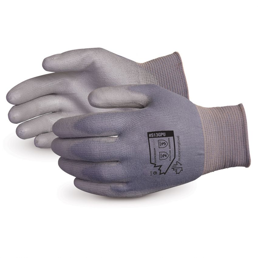 #S13GPU Superior Glove® Superior Touch® 13-gauge Grey Non-Linting Nylon Knit Gloves w/ Polyurethane Palms