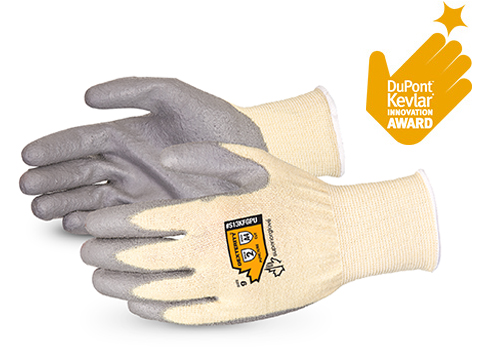 S13KFGPU Superior Glove® Dexterity® Polyurethane Palm-Coated Cut Resistant String Knit Work Gloves