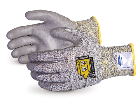 #S13SXGPUQ Superior Touch® Grey 13-Gauge Economy Knit Work Gloves with Dyneema® & Polyurethane Palms