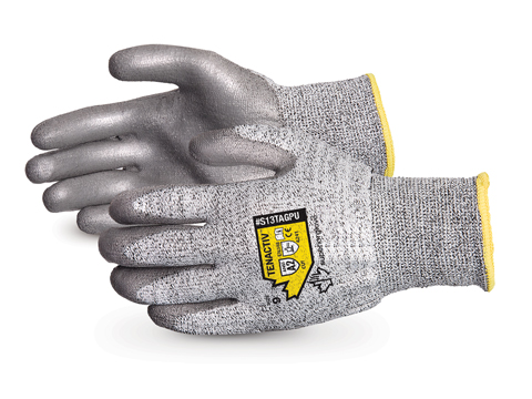 #S13TAGPU, Superior Glove® TenActiv™ Composite Knit Cut-Resistant Gloves with Grey PU-Coated Palms