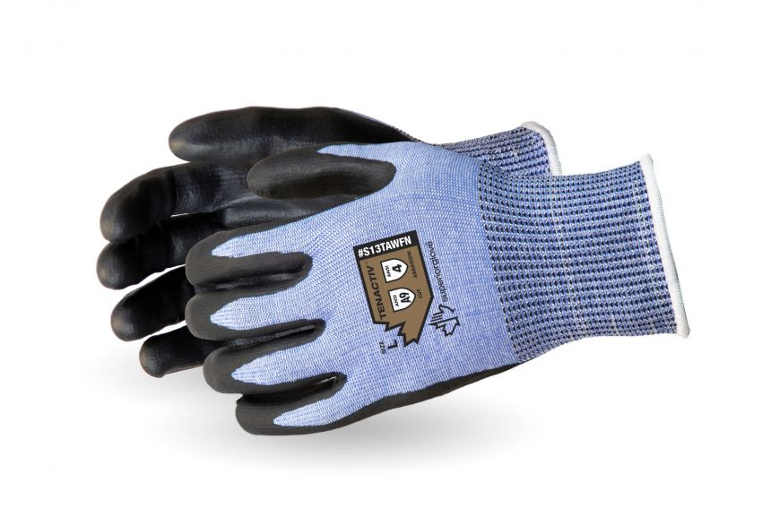 #S13TAWFN- Superior Glove® TenActiv™ 13-gauge  seamless knit foam coated nitrile A9 Cut-Resistant Work Gloves