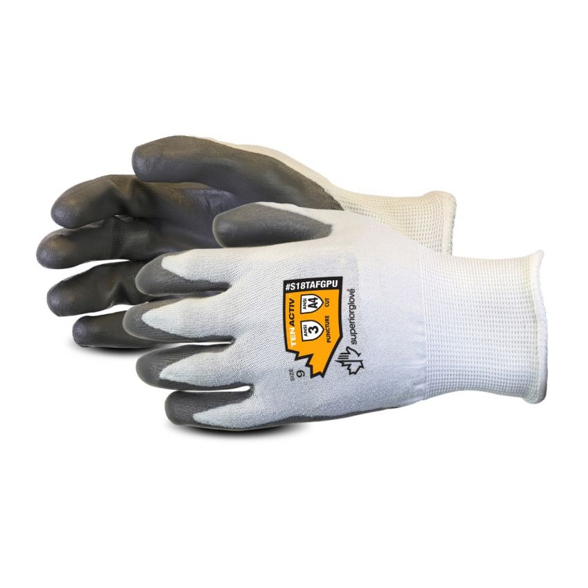 S18TAFGPU Superior Glove® TenActiv™ 18-gauge composite filament fiber PU Coated A4 Cut-Resistant Work Gloves