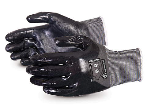 #SN15NTFB Superior Glove® Dexterity® Seamless Nylon Gloves with Full Back and Palm Nitrile Coating