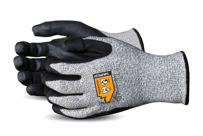 STAGFNFC Superior Glove® TenActiv™ Crush Resistant Finger Cap Gloves With Foam Nitrile Palm Coating