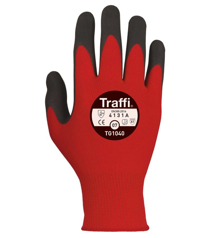 TG1040 TraffiGlove® X-Dura Nitrile Coated 13-Gauge Seamless Knit Industrial Work Gloves