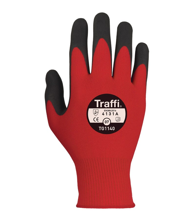 TG1140 Traffi® Red Gloves MicroDex Nitrile Foam Work Gloves