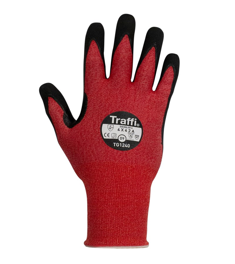 TraffiGlove® LXT® TG1240 Red A1 Cut resistant Work Gloves with MicroDex Ultra Palm Grip Coating