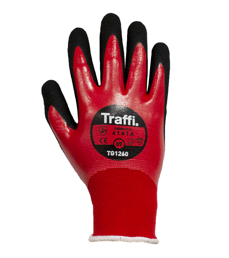 TG1260 TraffiGlove® 15-gauge seamless knit gloves with double dipped nitrile coating
