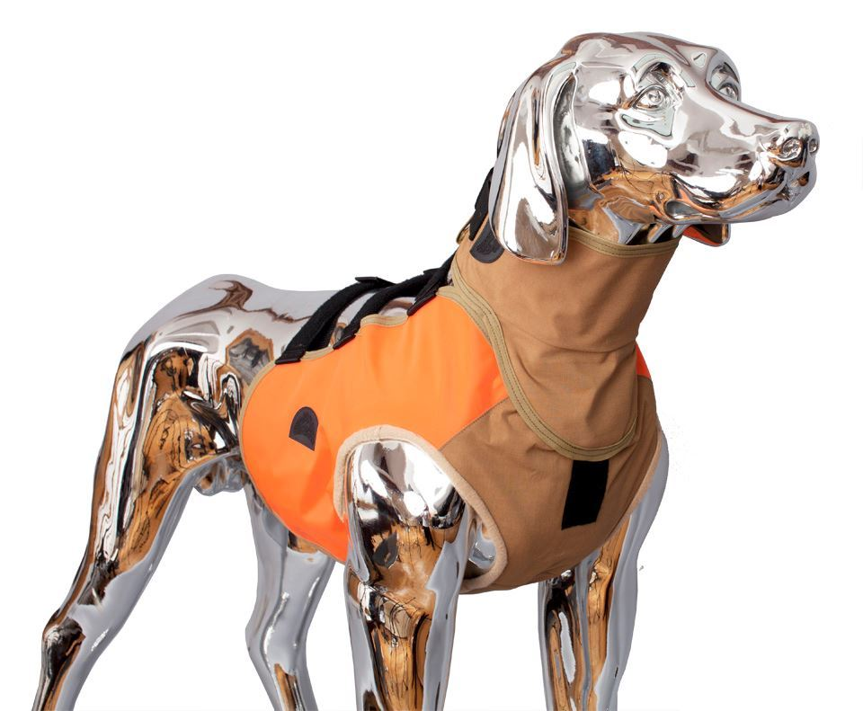 Warwick Mills Turtleskin® SnakeArmor Dog Safety Vest w/ Optional Neck Protection and in hi-vis color Blaze Orange