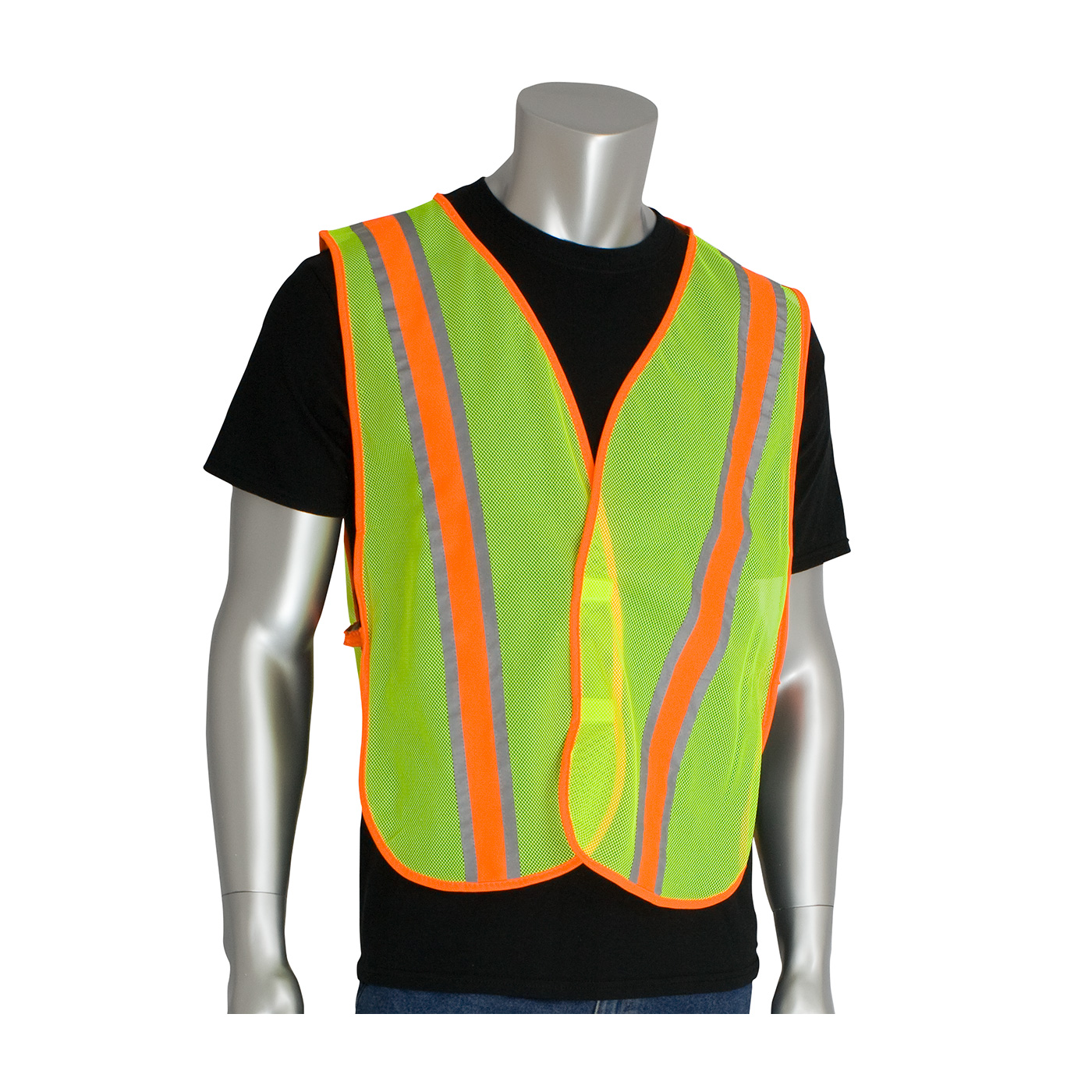 #300-0900 PIP® Non-ANSI Two-Tone Hi-Viz Lime Yellow Safety Vests