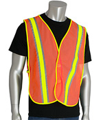 #300-0800 PIP® Non-ANSI Two-Tone Hi-Viz Orange Safety Vests