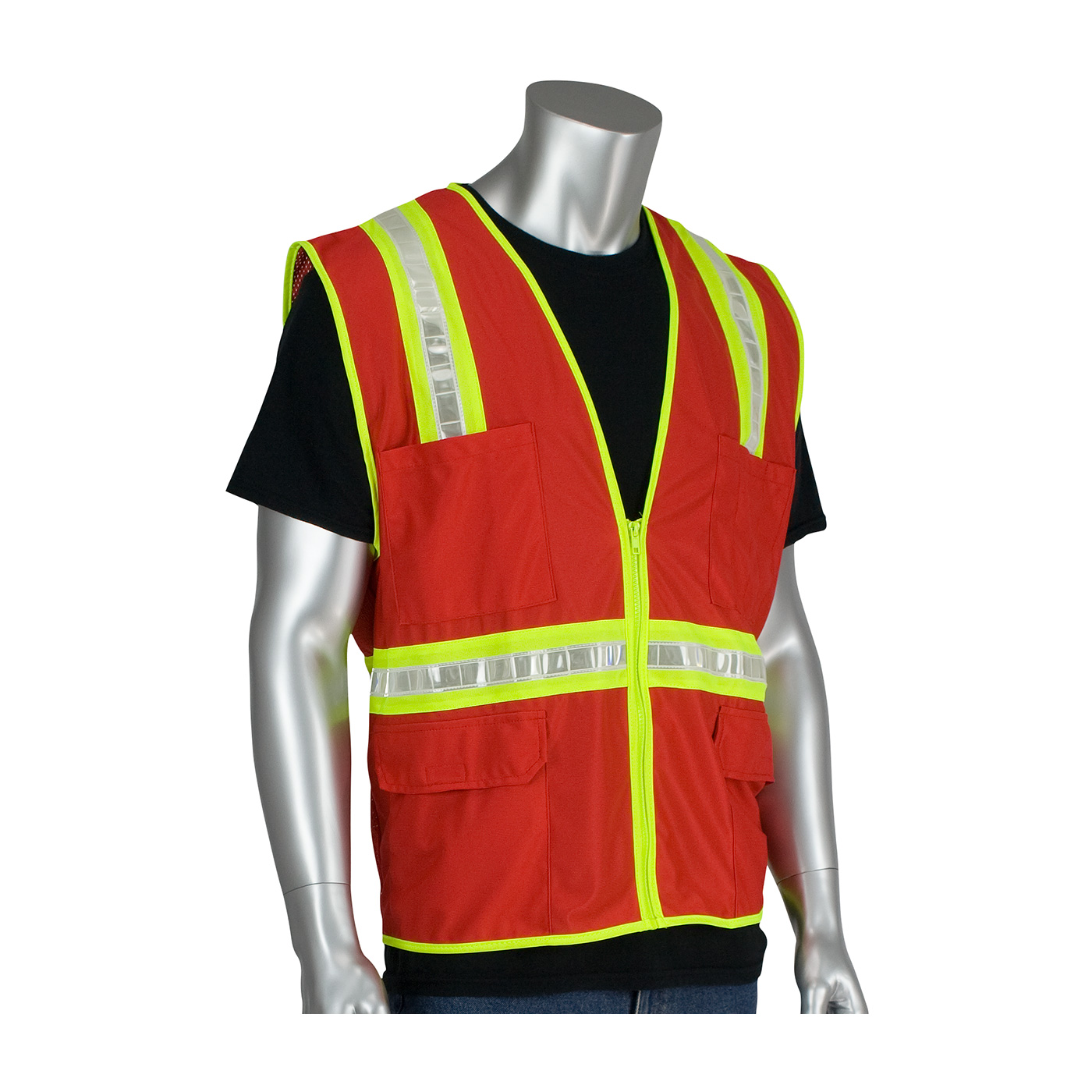 #300-1000 PIP® Non-ANSI Red Surveyor's Style Safety Vest with a Solid Front, Mesh Back and Prismatic Tape