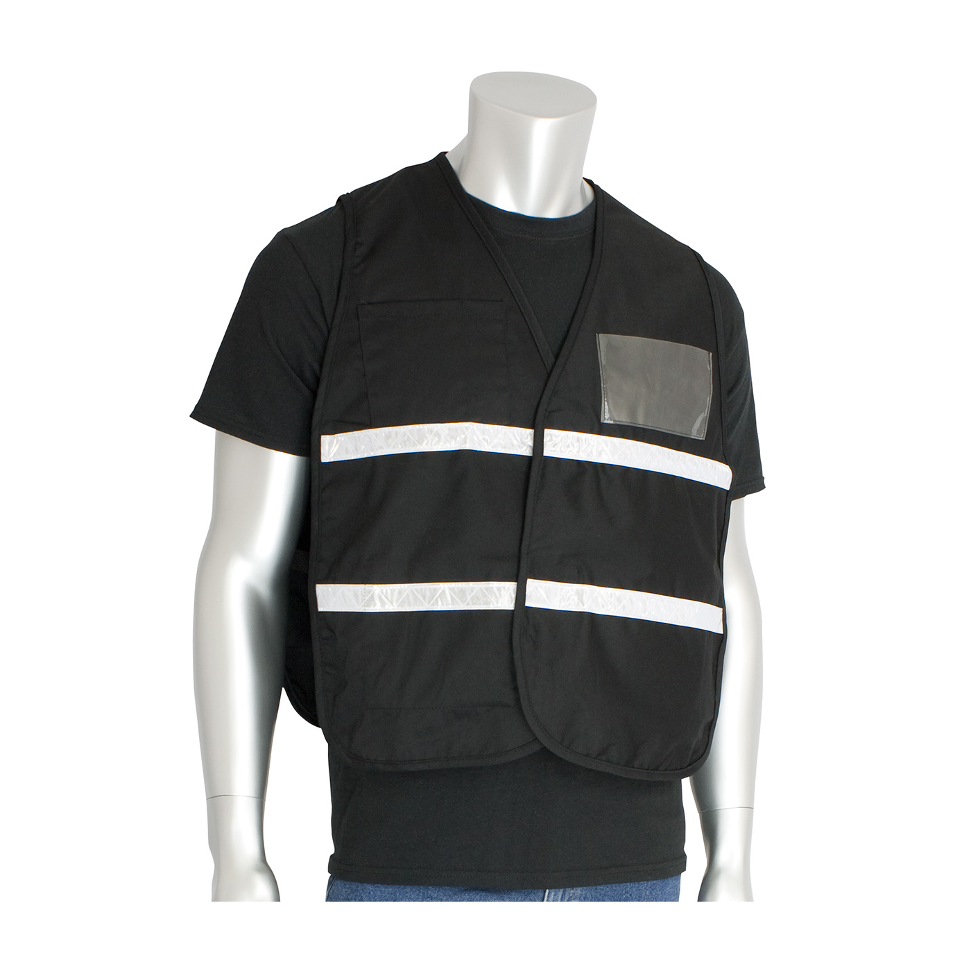 #300-1502 PIP® Non-ANSI  Black Incident Command Vest - 100% Polyester