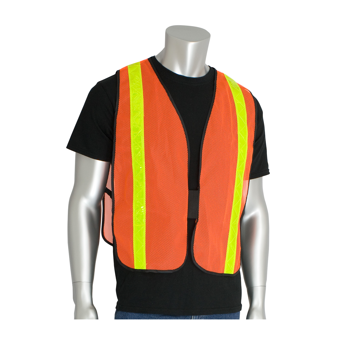 #300-EVOR-PLY PIP® Non-ANSI Blue Surveyor's Style Safety Vest with a Solid Front, Mesh Back and Prismatic Tape