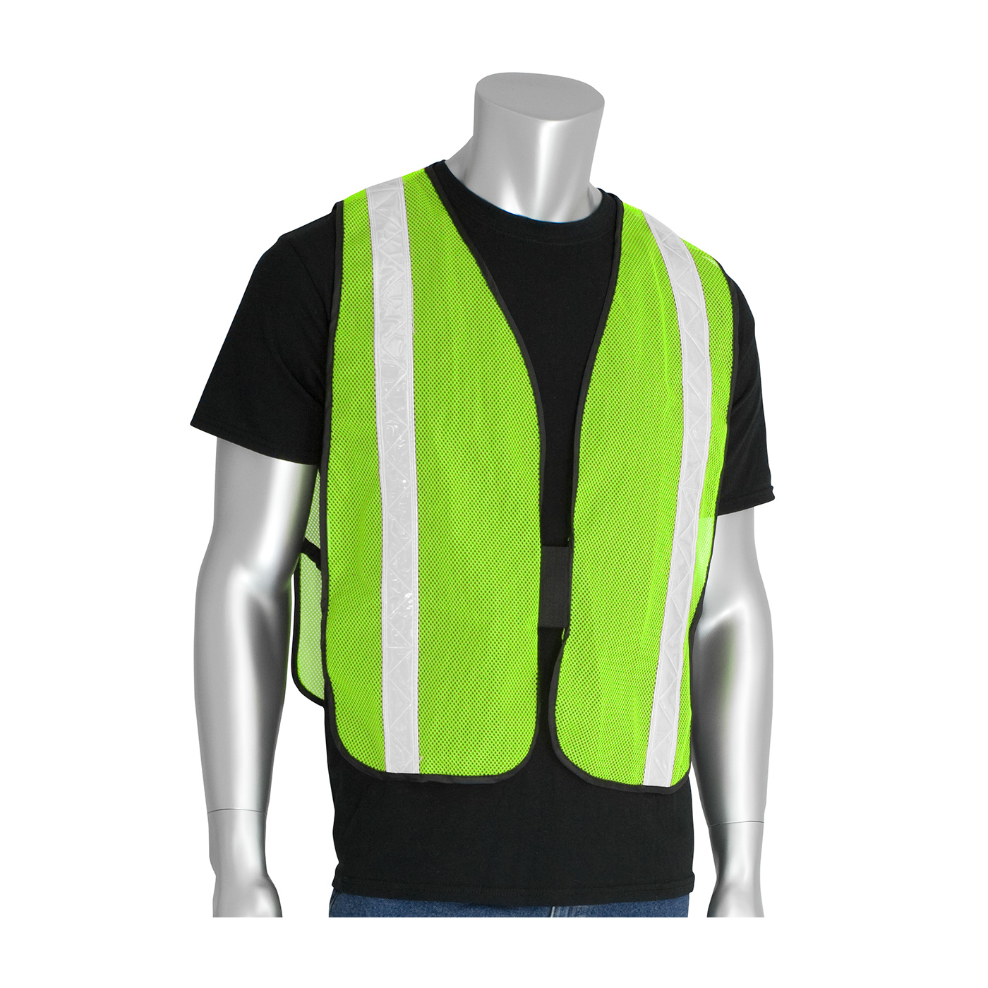 #300-EVOR-PLY PIP® Non-ANSI Red Surveyor's Style Safety Vest with a Solid Front, Mesh Back and Prismatic Tape