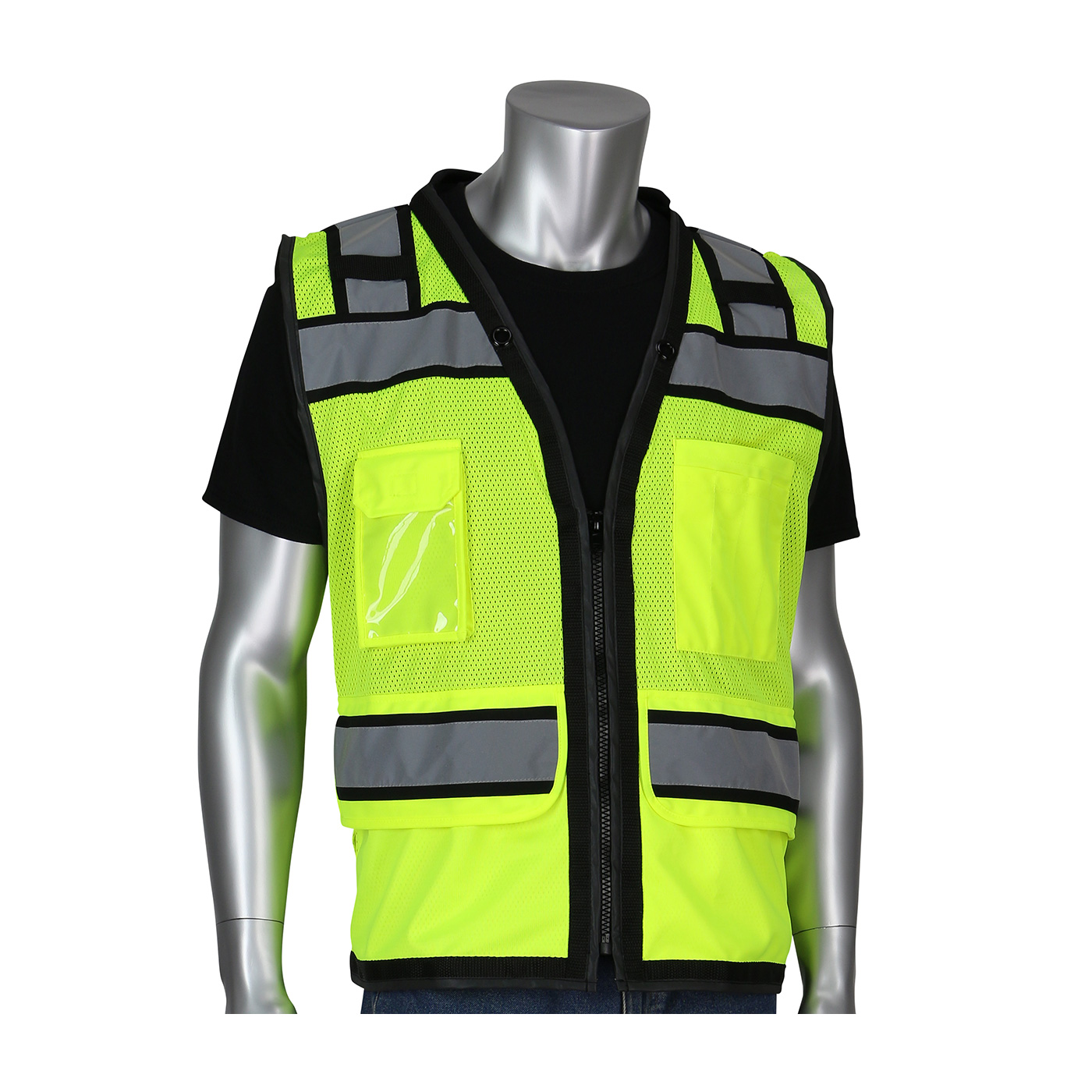PIP® ANSI Type R Class 2 Black Two-Tone Eleven Pocket Tech-Ready Yellow Mesh Surveyors Vest with `D` Ring Access #302-0800D
