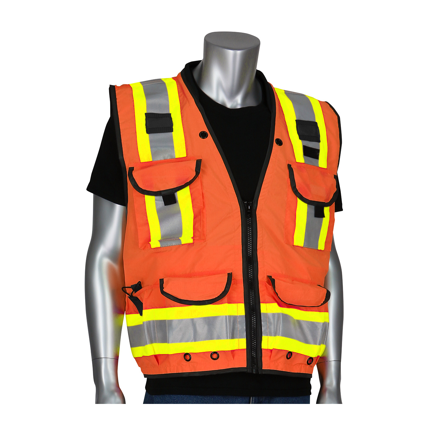 PIP® ANSI Type R Class 2 Orange Two-Tone Fifteen Pocket Tech-Ready Ripstop Surveyors Vest with Mesh Back #302-0900