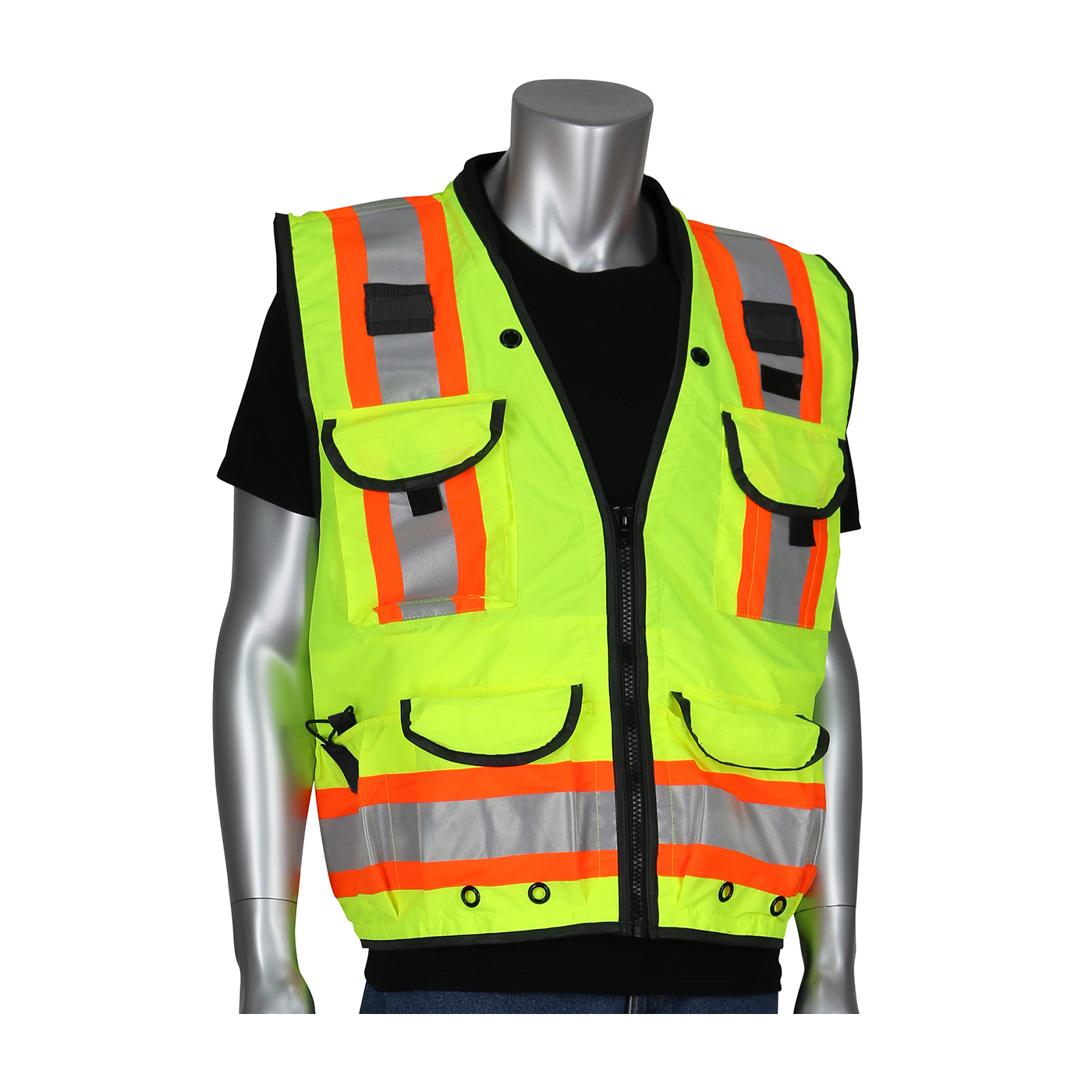 PIP® ANSI Type R Class 2 Yellow Two-Tone Fifteen Pocket Tech-Ready Ripstop Surveyors Vest with Mesh Back #302-0900
