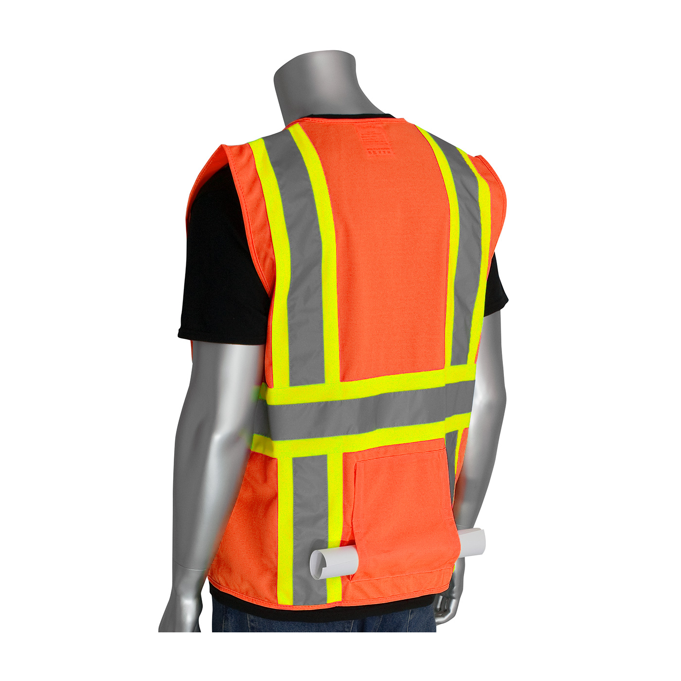 PIP® ANSI Type R Class 2 Two-Tone Eleven Pocket Premium Solid Surveyors Vest #302-MAP