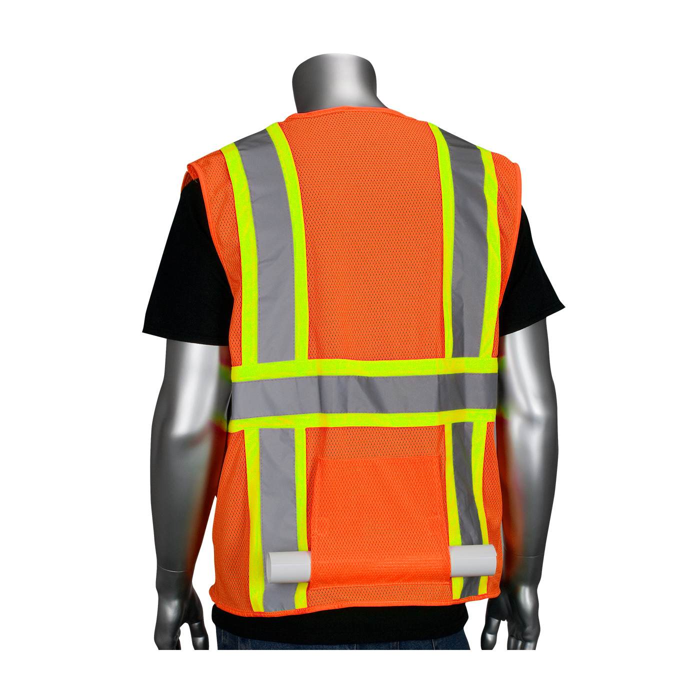PIP® ANSI Type R Class 2 Two-Tone Eleven Pocket Premium Mesh Surveyors Vest #302-MAPM