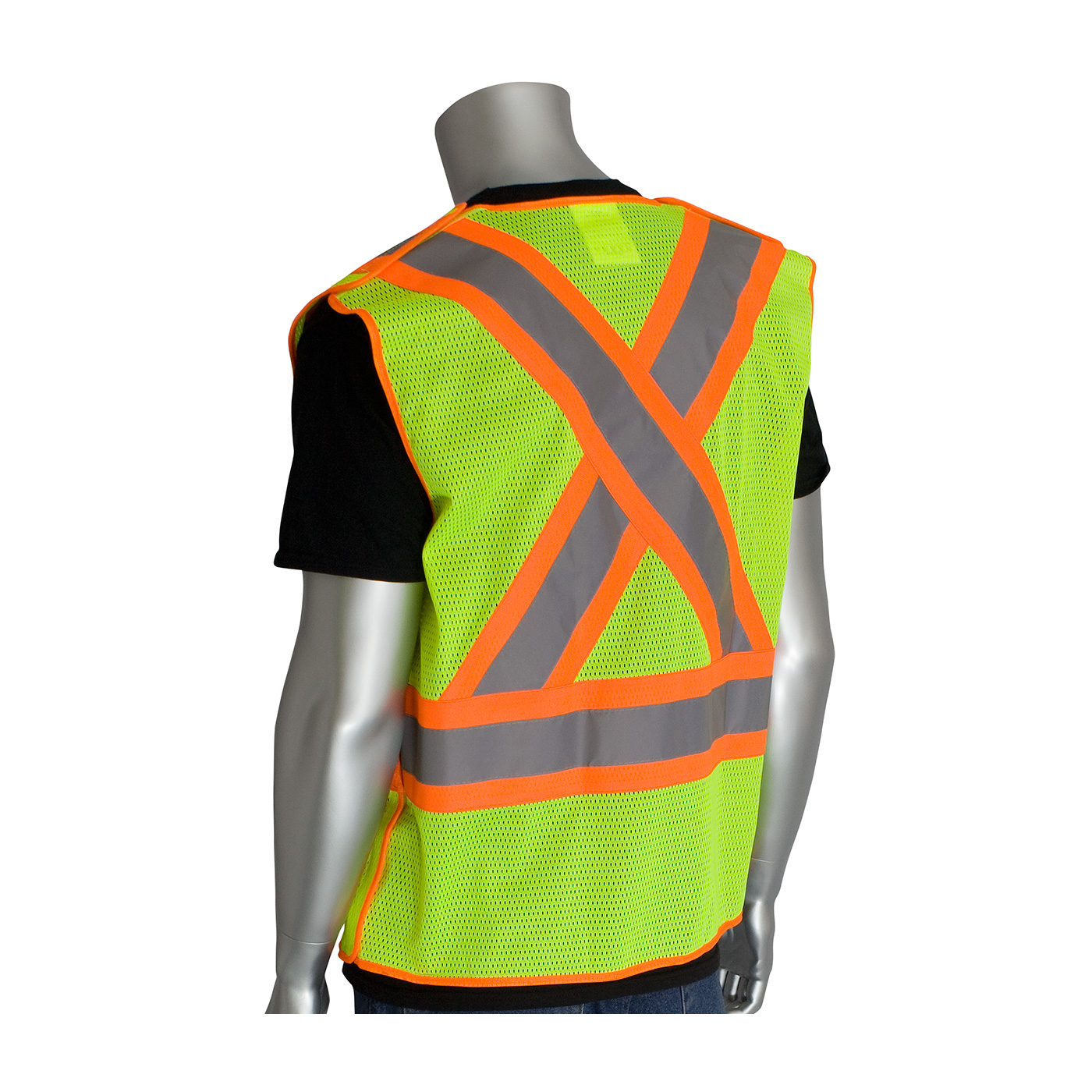 PIP® ANSI Type R Class 2 and CAN/CSA Z96 Two-Tone X-Back Breakaway Mesh Vest #302-0211LY