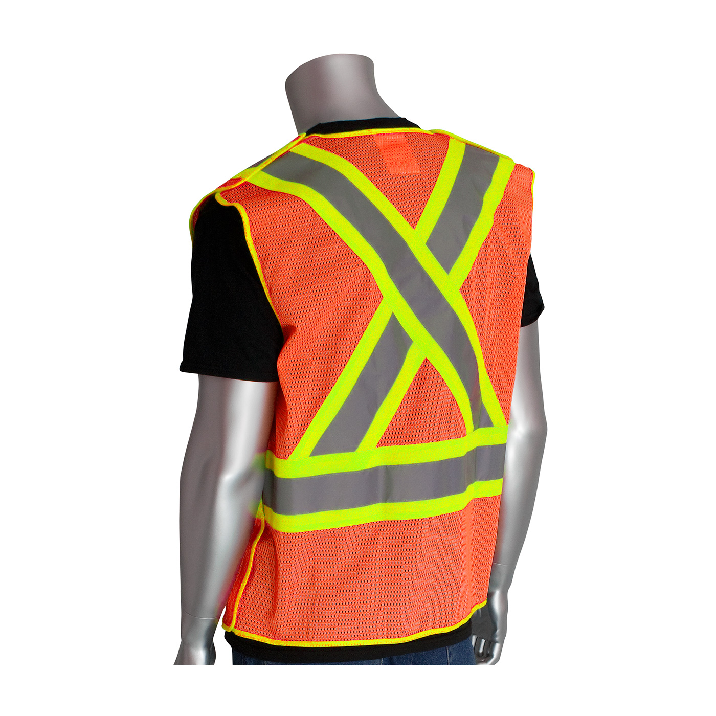 PIP® ANSI Type R Class 2 and CAN/CSA Z96 Two-Tone X-Back Breakaway Mesh Vest #302-0211OR
