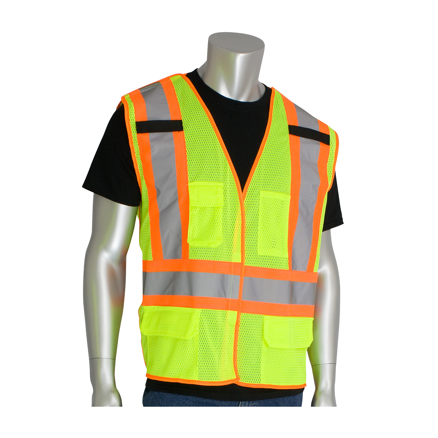 PIP® ANSI Type R Class 2 Two-Tone Breakaway Mesh Vest w/ 5 pockets #302-0212-LY