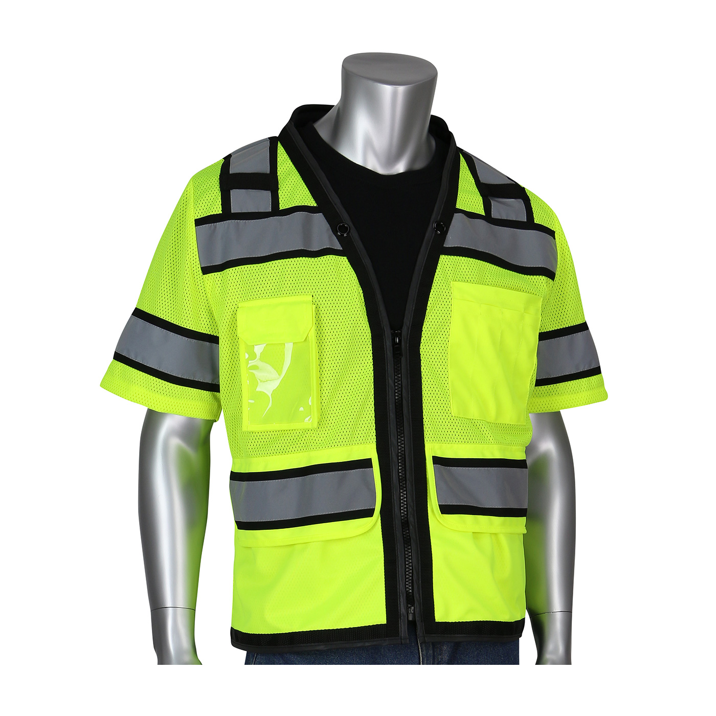PIP® ANSI Type R Class 3 Black Two-Tone Eleven Pocket Tech-Ready Mesh Surveyors Vest with `D` Ring Access #303-0800D