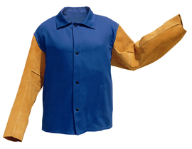 Blue Flame Resistant 100% cotton Jacket with Cowhide Leather Sleeves