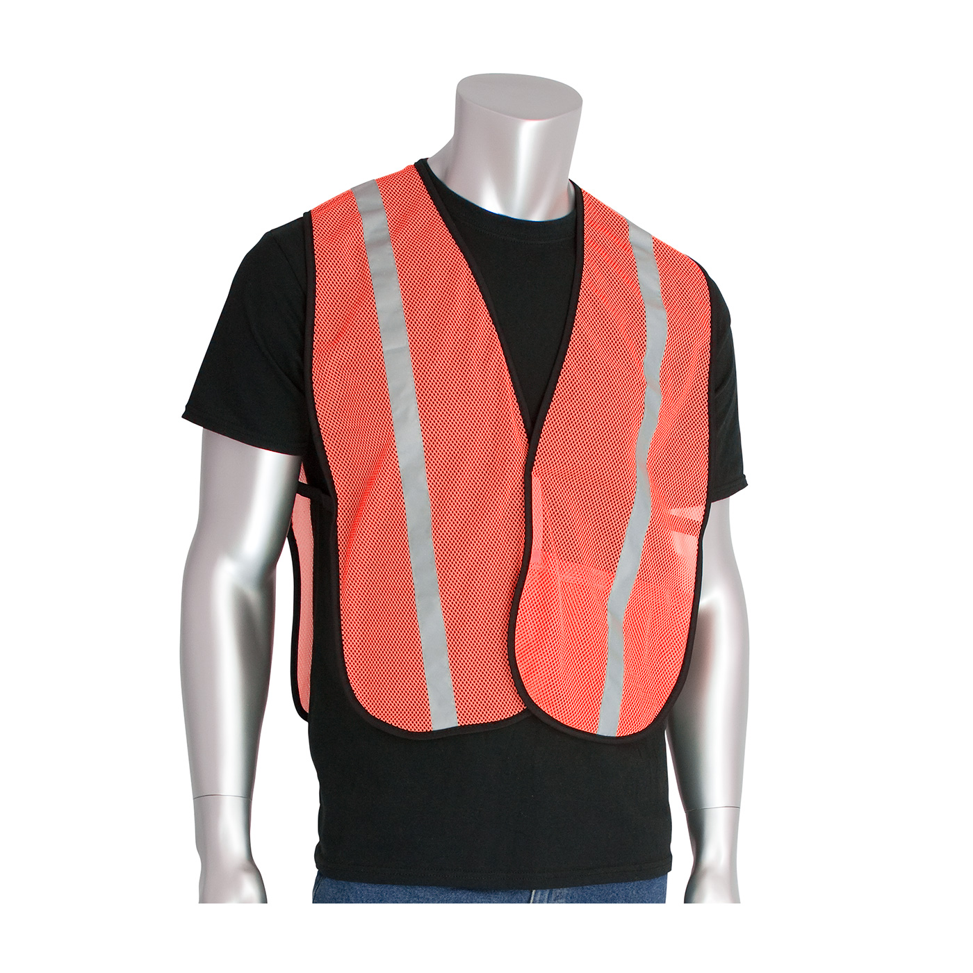 #300-EVOR-E PIP® Non-ANSI Hi-Viz Orange One Pocket Mesh Safety Vests with 1` Reflective Tape