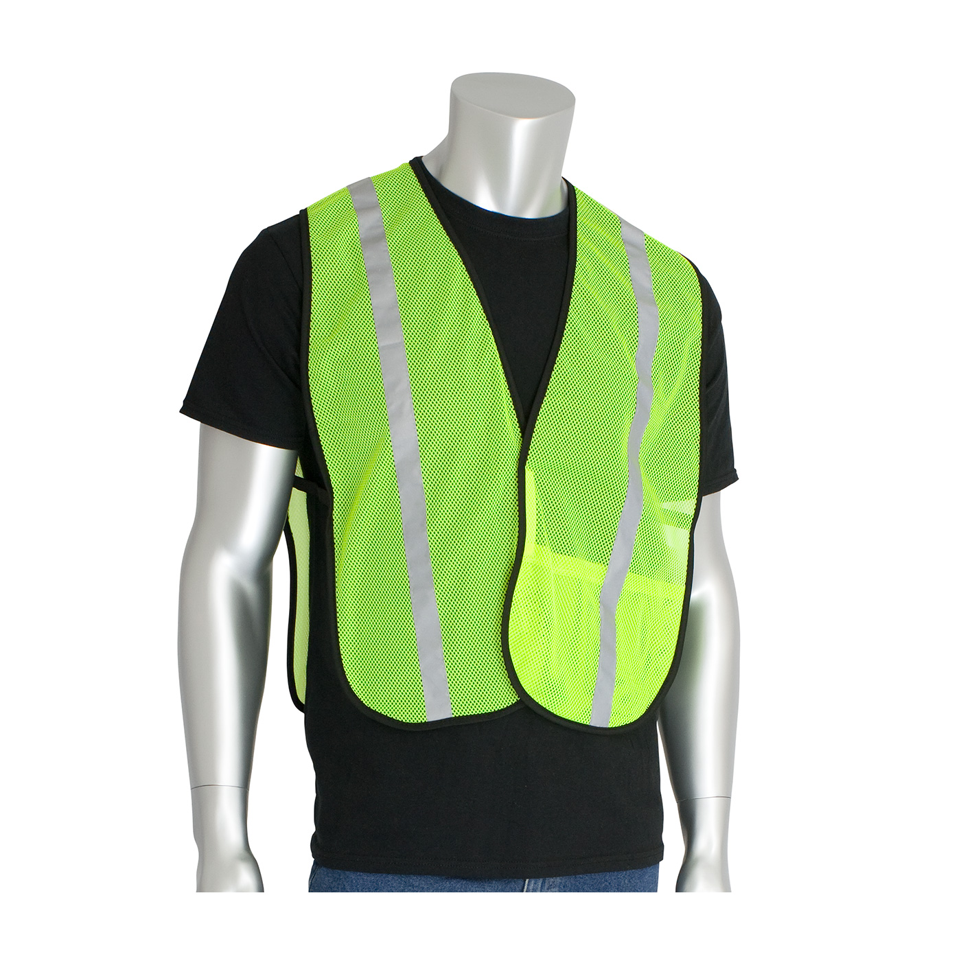 #300-EVOR-E PIP® Non-ANSI Hi-Viz Lime Yellow One Pocket Mesh Safety Vests with 1` Reflective Tape