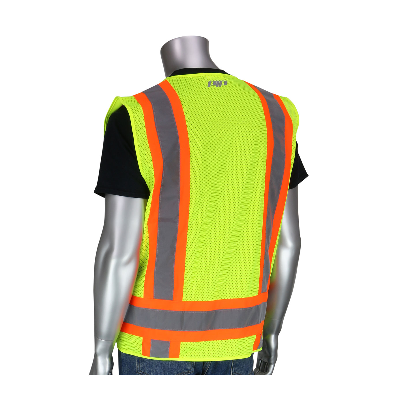 PIP® ANSI Type R Class 2 Two-Tone Eleven Pocket Surveyors Mesh Vest #302-0500M-LY