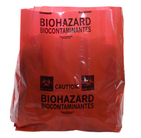 15` x 9` x 23` Red Infectious Biohazard Message Extra-Strength Low Density Gusseted Liners, 4-mil