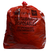 15` x 9` x 32` Red Contaminated Disposables Low Density Gusseted Liners, 1.5-mil