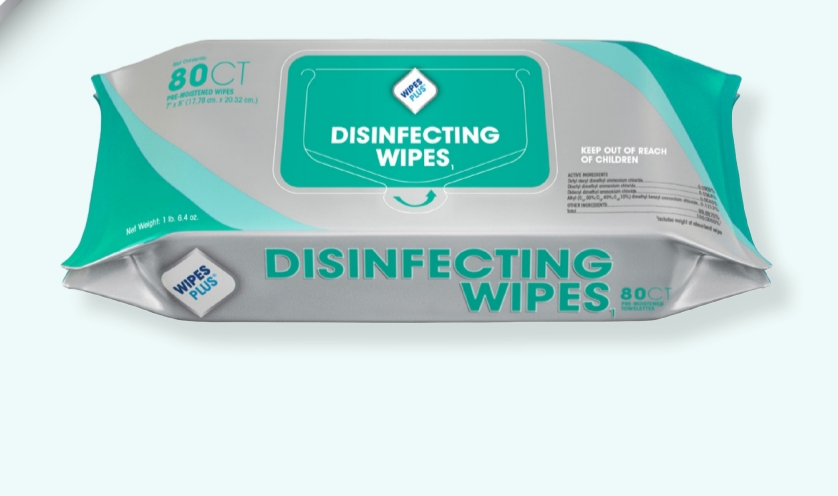 #33701 Progressive Products WipesPlus® Disinfecting Surface Wipes in 80 count resealble pack
