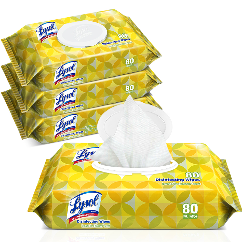 Lysol® Brand Disinfecting Wipes Lemon and Lime Blossom Scent - 80 count flex pack