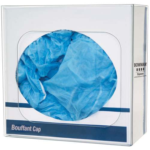 BP-007 : Bowman clear PETG plastic Bouffant Cap or Shoe Cover Dispenser