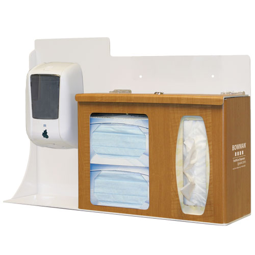 RS005-0223 BOWMAN Signature Series - Maple Fauxwood ABS Plastic Locking Respiratory Hygiene Station