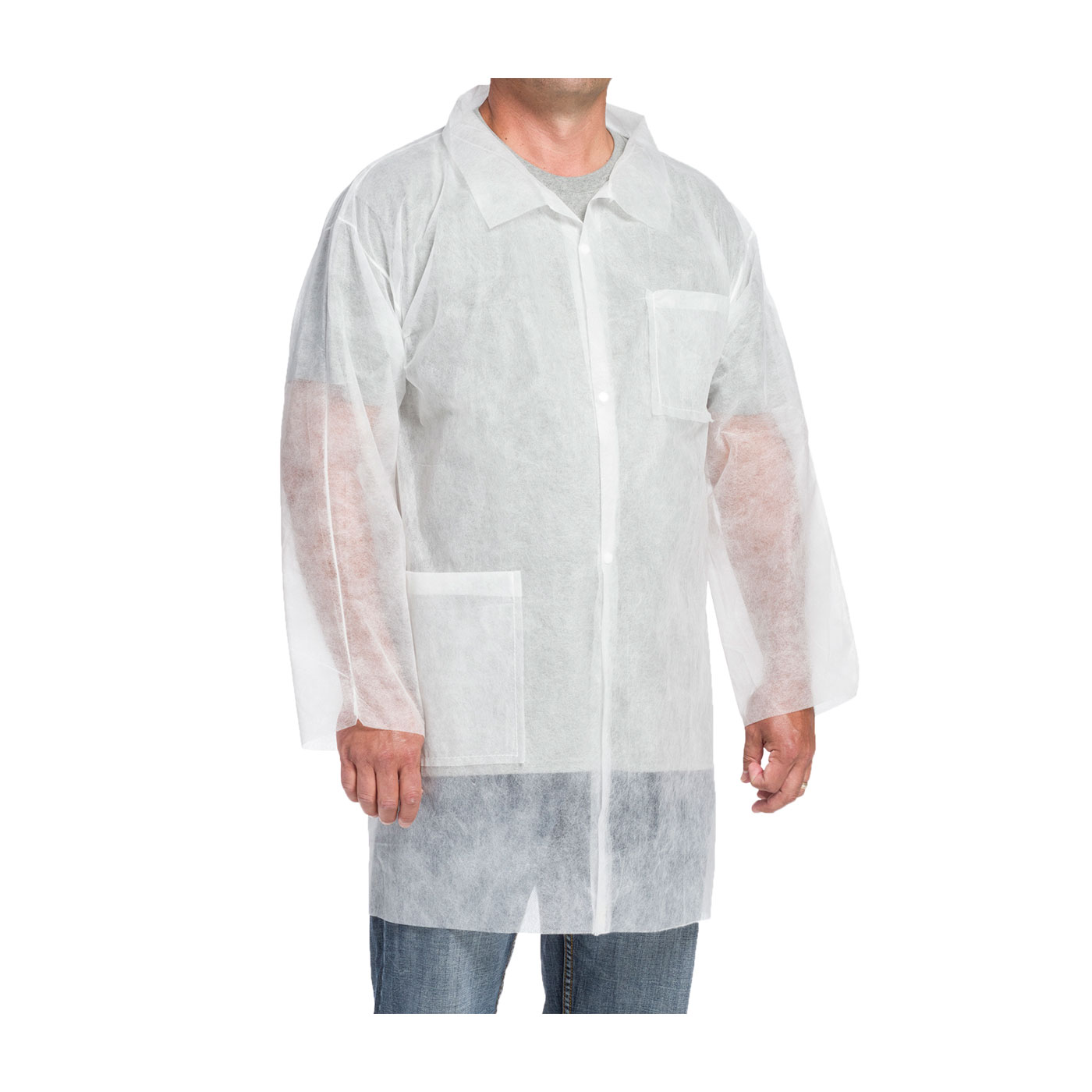 Disposable Polypropylene Lab Coats w/ Two Pockets