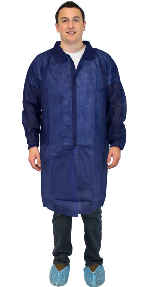 Safety Zone® Blue Polypropylene Lab Coats w/ No Pockets, Elastic Cuffs