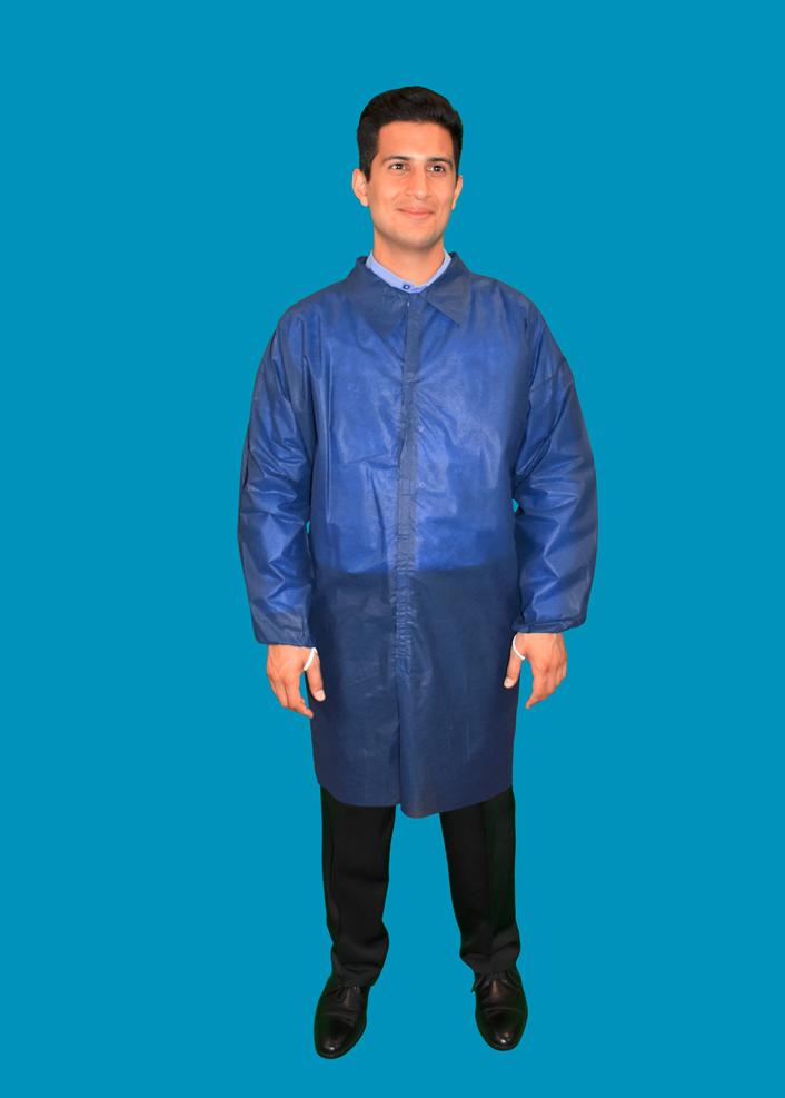 #LC0-NBE-NW-HD-V Keystone® Heavyweight Disposable Polypropylene  Lab Coats w/ No Pockets, Elastic Wrists and Velcro Touch Fastening Closure. Navy Blue