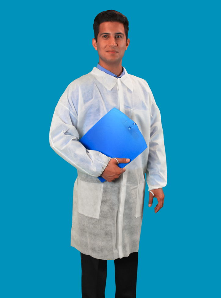 #LC3-WE-NW-HD-V Keystone® Disposable Polypropylene  Lab Coats w/ 3 Pockets, Elastic Wrists and Velcro Touch Fastening Closure.